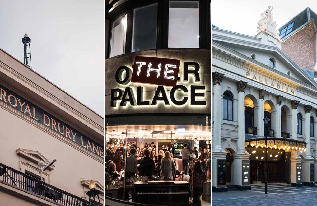 LW Theatres: Theatre Royal Drury Lane, the Other Palace and the London Palladium. Photos: David Monteith-Hodge/Craig Sugden/Shutterstock