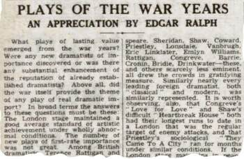 Plays of the war years – 75 years ago in The Stage