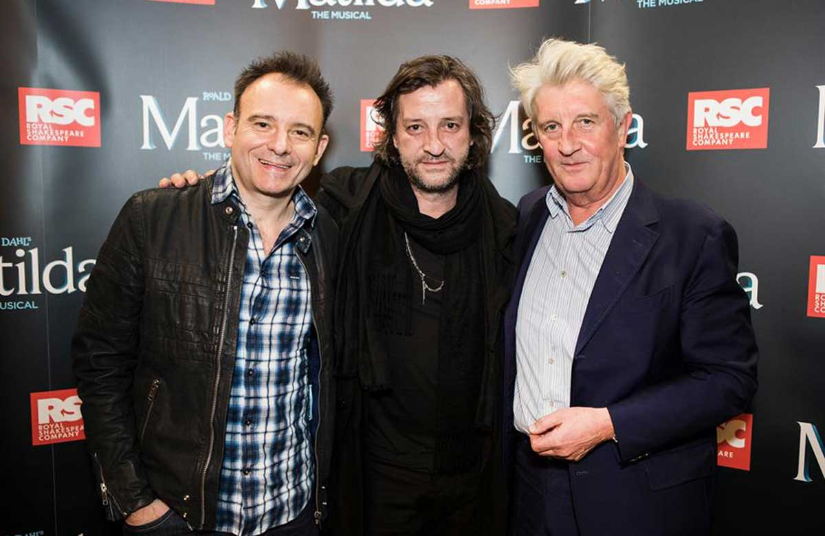 André Ptaszynski (right) with director Matthew Warchus and designer Rob Howell at the press night for the UK Tour of Matilda the Musical at Leicester's Curve in 2018. Photo: Pamela Raith