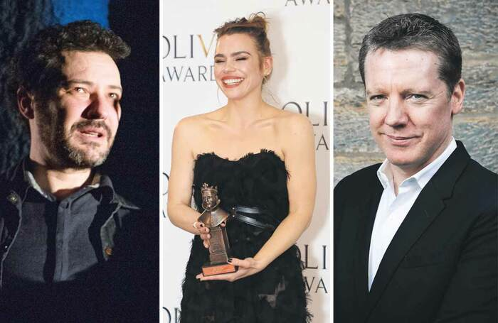 Jeremy Dyson, Billie Piper and Fergus Linehan. Photos: Tristram Kenton, Pamela Raith and Eoin Carey
