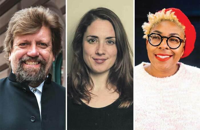 Oskar Eustis (photo: Aislinn Weidele), Lucy Prebble (photo: The Other Richard) and Natalie Ibu (photo: Mathieu Ajan)
