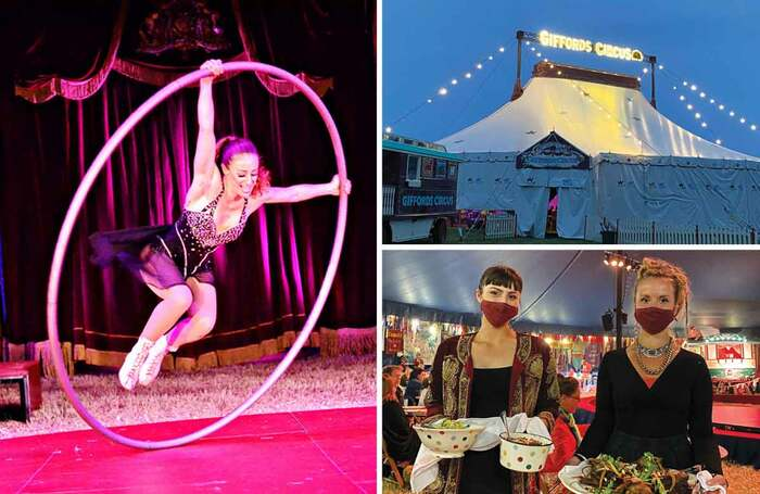 Clockwise from left: Lil Rice on the Cyr Wheel (photo: Andrew Rees); Giffords Circus big top, where audiences are served a three-course meal during the show (photos: Emma Bradshaw)