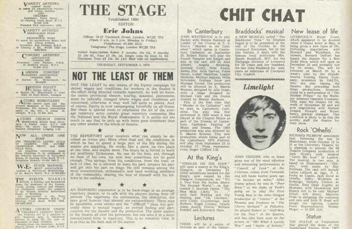 50 years ago in The Stage