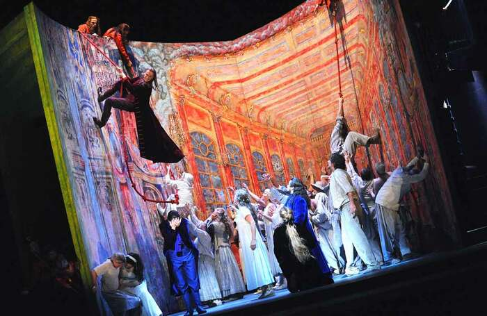 Simon Keenlyside (left, on rope) in Don Giovanni, which opened at the Royal Opera House on September 8, 2008