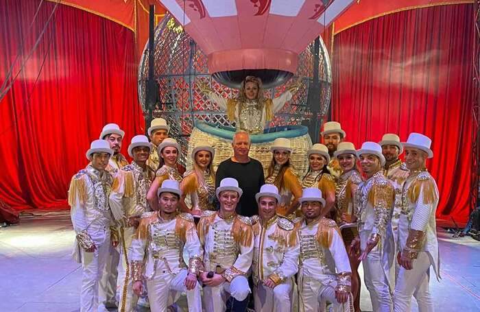 Phillip Gandey (centre) with the  cast of Gandeys Circus