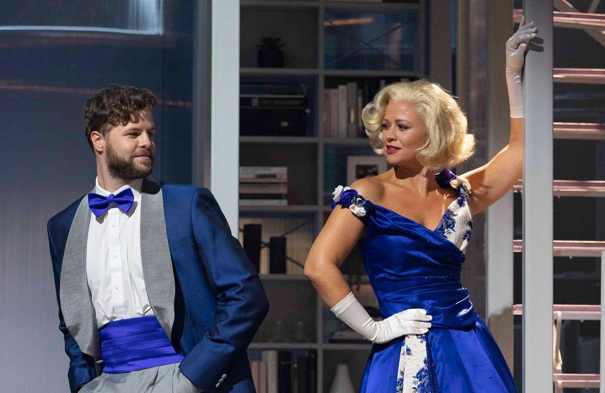 Jay McGuiness and Kimberley Walsh in Sleepless: A Musical Romance. Photo: Alastair Muir