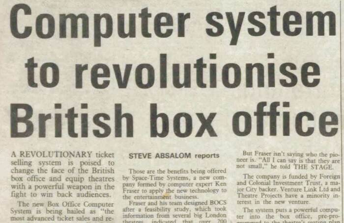 """A revolutionary ticket selling system"" – 40 years ago in The Stage"