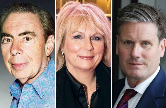 Andrew Lloyd Webber, Jennifer Saunders and Keir Starmer. Photos: John Swannell/Craig Sugden/Shutterstock