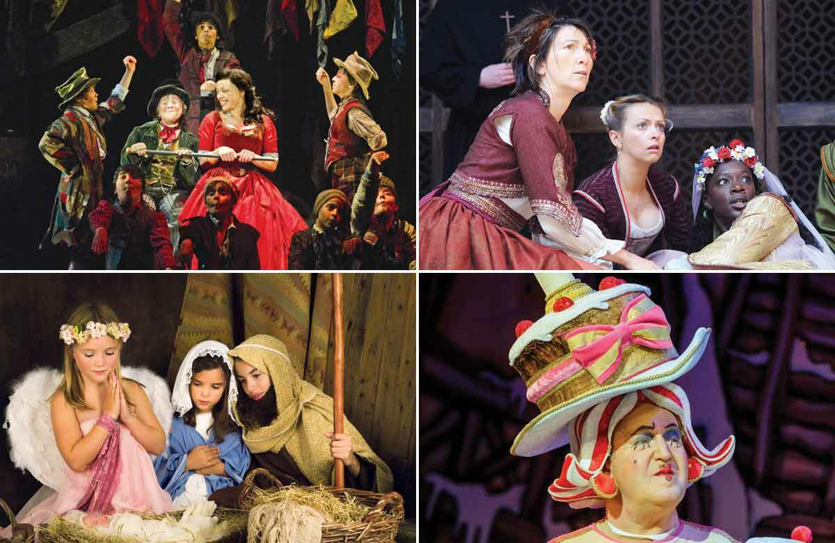 Our panel first starred in everything from Oliver! (top left); Much Ado About Nothing (top right); nativity plays (bottom left) and pantomime (bottom right). Photos: Alastair Muir/Tristram Kenton/Shutterstock