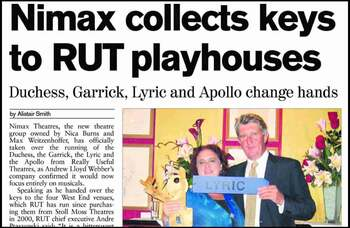 Nimax takes over West End playhouses – 15 years ago in The Stage