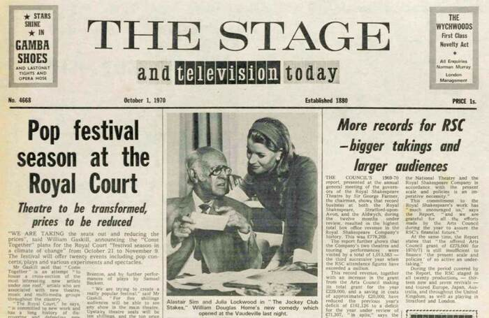 The front page of The Stage on October 1, 1970