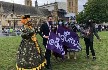 Pantomime dames march to parliament to highlight crisis facing sector