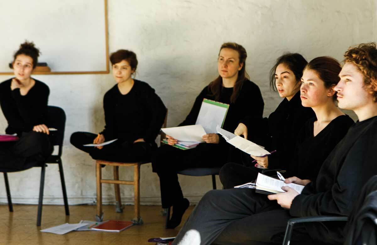 Third-year Oxford School of Drama students in class. Photo: Jessica Forde