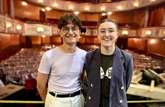 Toby Marlow and Lucy Moss on stage at the West End's Lyric Theatre. Photo: Radio 1 Newsbeat