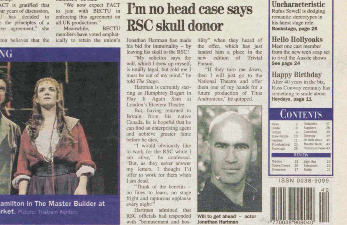 RSC wannabe uses his head – 25 years ago in The Stage
