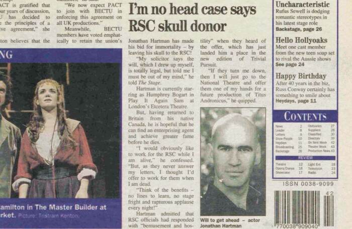 Detail of The Stage front page on October 19, 1995