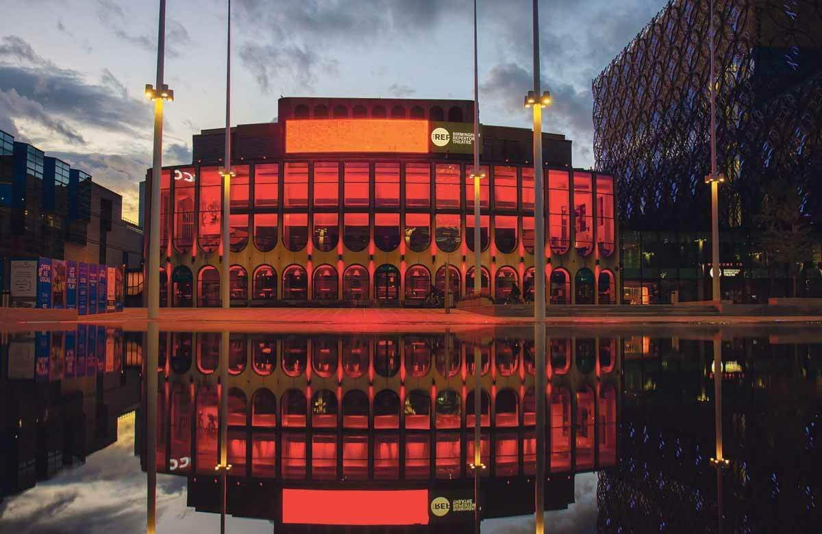 Birmingham Rep lit up for the Light It in Red campaign. Photo: Hannah Kelly
