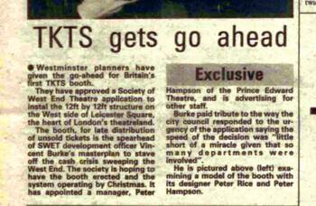 TKTS: the birth of the Leicester Square ticket booth, 40 years ago in The Stage