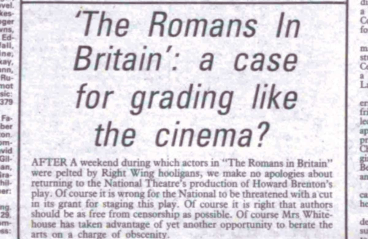 Does theatre need cinema-style ratings?, 40 years ago in The Stage