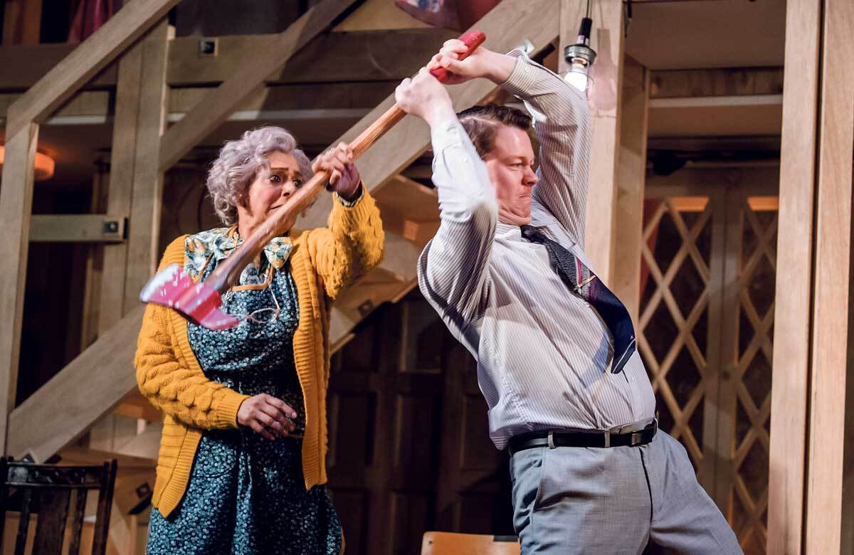 Meera Syal and Daniel Rigby in Noises Off at the Lyric Hammersmith Theatre in 2019. Photo: Tristram Kenton