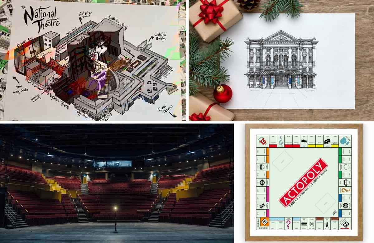 Clockwise from top left: Cressida Peever's diagram of the inside of the National Theatre; Peter Hannah's pen-and-ink drawing of the Noël Coward Theatre; Andrew Keates' Actopoly board; Helen Murray's photo of the empty stage at Leeds Playhouse