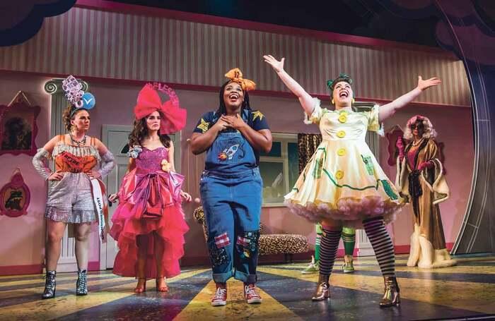Mairi Barclay, Lauren Samuels, Timmika Ramsay, Jodie Jacobs and Shobna Gulati in Cinderella, which opened at the Lyric Hammersmith on November 23, 2019