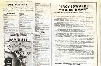 'He can imitate over 500 bird voices' – how 'birdman' Percy Edwards promoted himself 45 years ago in The Stage