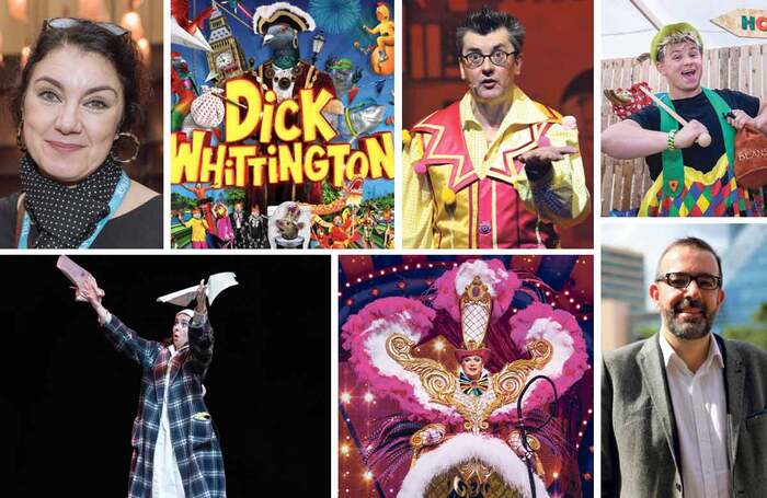 Clockwise from top left: Gemma Bodinetz says goodbye to Liverpool Playhouse; the National's Dick Whittington; Joe Pasquale will appear in Sleeping Beauty in Southampton; panto star Josh Benson; Adam Nichols; Julian Clary returns to the London Palladium; Natalie Grady in Storyhouse's Carol