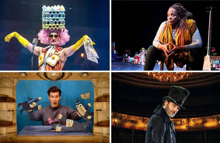 Clockwise from top left: Dick Whittington at the National Theatre; Until the Flood; A Christmas Carol at London's Old Vic; Shh! We Have a Plan. Photos: Tristram Kenton/Alex Brenner/Helen Maybanks/Jan Capinski