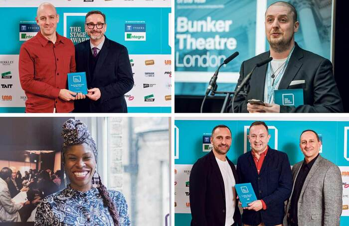 The Stage Awards winners 2020, clockwise from top left: Sheffield Theatres' Robert Hastie and Dan Bates (Alex Brenner); Chris Sonnex of the Bunker Theatre (David Monteith-Hodge); Mathew Russell of Queen's Theatre Hornchurch, centre (Alex Brenner); ADF's Simeilia Hodge-Dallaway