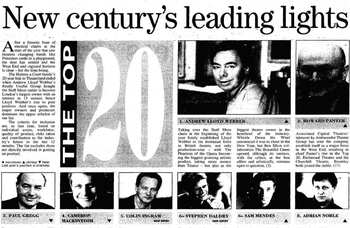 Andrew Lloyd Webber tops 100 for the first time – 20 years ago in The Stage