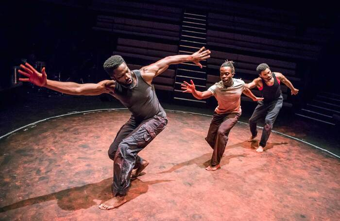 Sope Dirisu, Jonathan Ajayi and Anthony Welsh in The Brothers Size, which opened at the Young Vic on January 26, 2018. Photo: Tristram Kenton