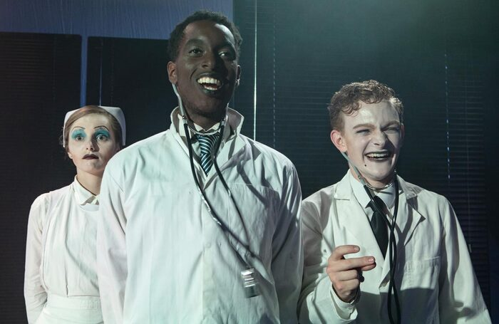 Camille Le Carpentier, Jay Lafayette Coward and Anthony Fletcher-Hodgson in Young Actors Theatre Islington's production of From Machinal. Photo: Ali Wright