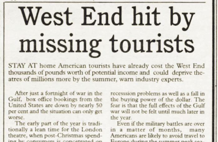 Gulf War dents tourist trade in West End – 30 years ago in The Stage