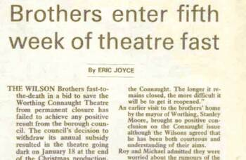 Brothers fast to save Worthing Connaught Theatre – 35 years ago in The Stage