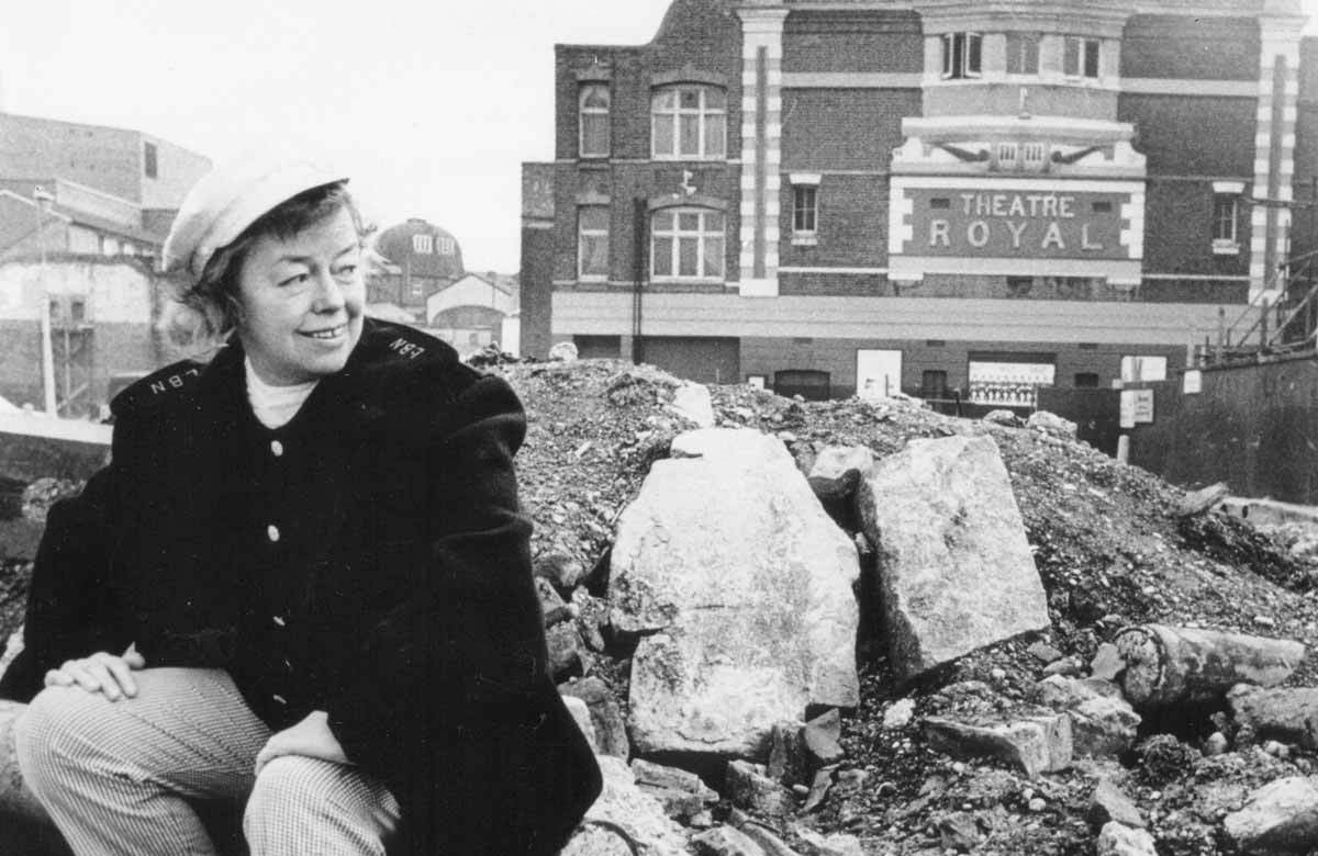 Joan Littlewood outside Theatre Royal Stratford East
