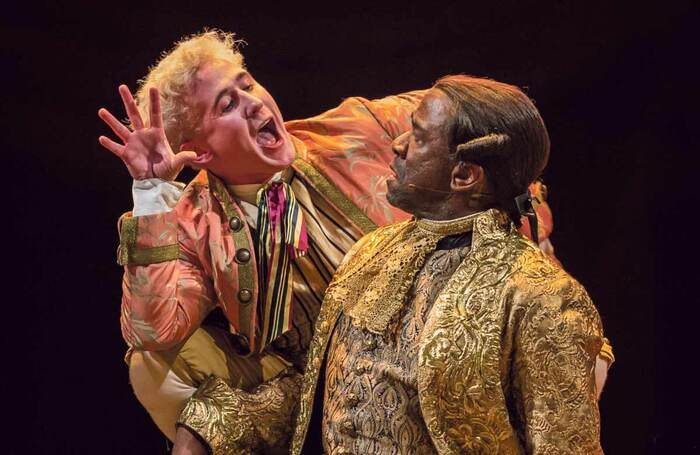 The ultimate career nemesis? Adam Gillen and Lucian Msamati in Amadeus at the National Theatre in 2017. Photo: Marc Brenner