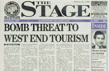 IRA impact on Theatreland – 25 years ago in The Stage