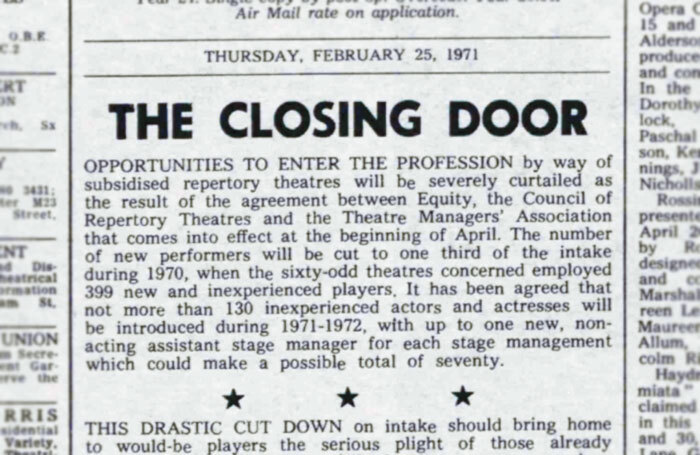 Warning for would-be actors – 50 years ago in The Stage