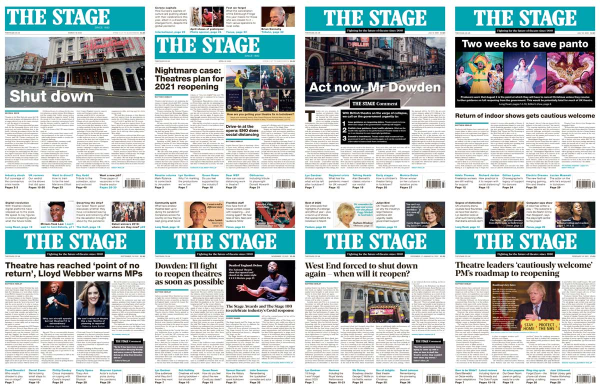 The Stage front pages March 2020 to February 2021