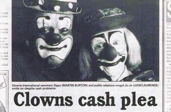 Cash crisis for clown convention – 30 years ago in The Stage
