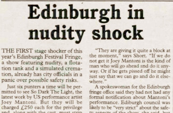 Flesh in the frame at Edinburgh Festival Fringe – 30 years ago in The Stage