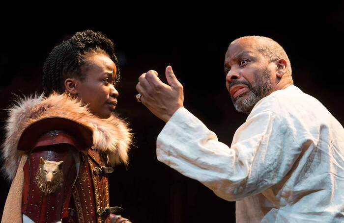 Pepter Lunkuse and Don Warrington in King Lear at Manchester's Royal Exchange Theatre in 2016 – the film of the production attracted new audiences worldwide. Photo: Jonathan Keenan