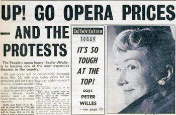 Protest over Sadler's Wells ticket price hike – 60 years ago in The Stage