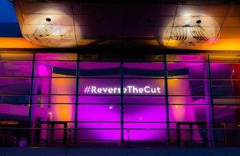 Anvil Arts lights up buildings to highlight impact of 50% funding cut