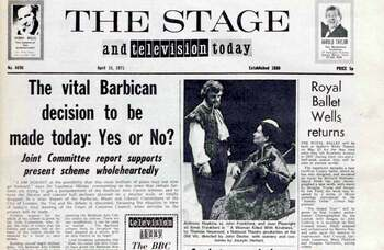Battle over the birth of the Barbican Centre – 50 years ago in The Stage