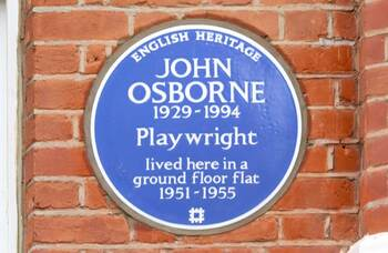 John Osborne commemorated with blue plaque at London home