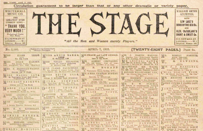 Theatre's First World War efforts celebrated – 100 years ago in The Stage