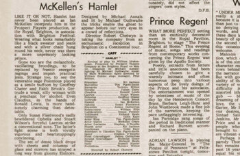 Ian McKellen's first Hamlet at Brighton Festival – 50 years ago in The Stage