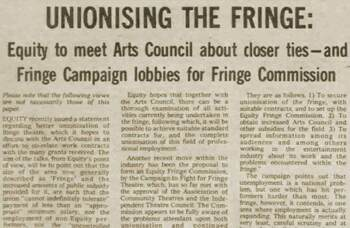 Equity attempts to unionise the UK's fringe sector – 45 years ago in The Stage